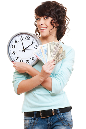 Woman holding money and clock